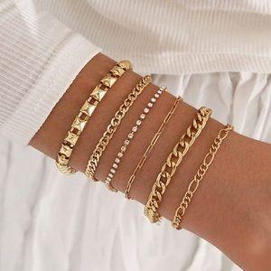 Dainty Crystal Layered Bracelets Gold New